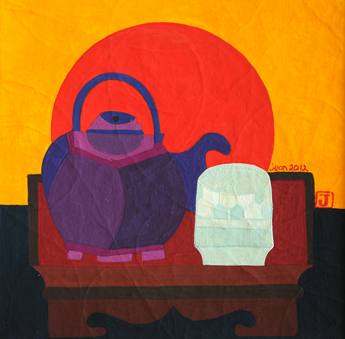 Purple Teapot and Red Sun by artist Jean Tori
