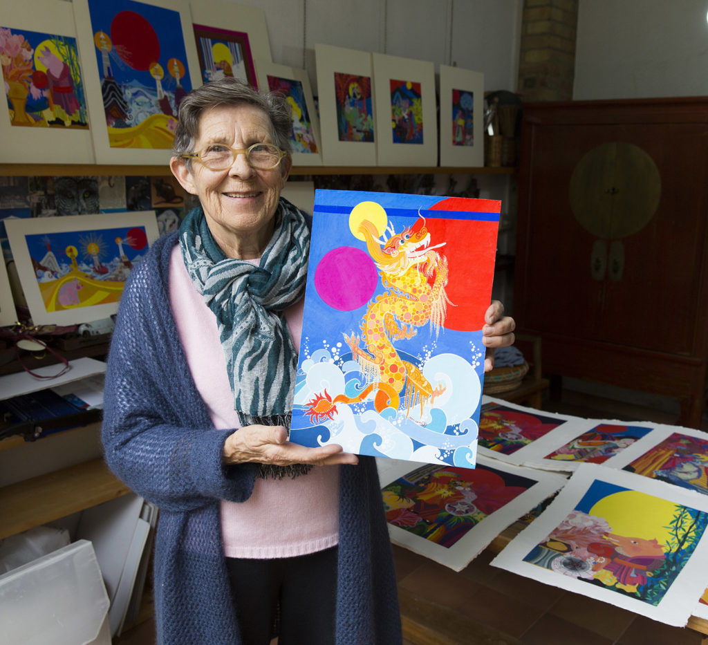 Jean Tori in her studio in Umbria