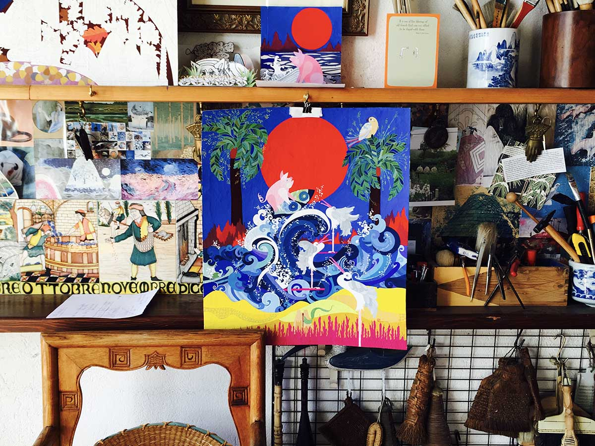 Paintings and misc in Jean Tori's studio