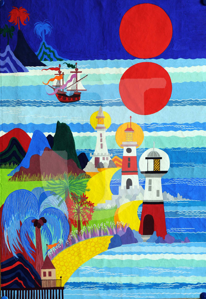 Lighthouses and Sailing Ship by Jean Tori