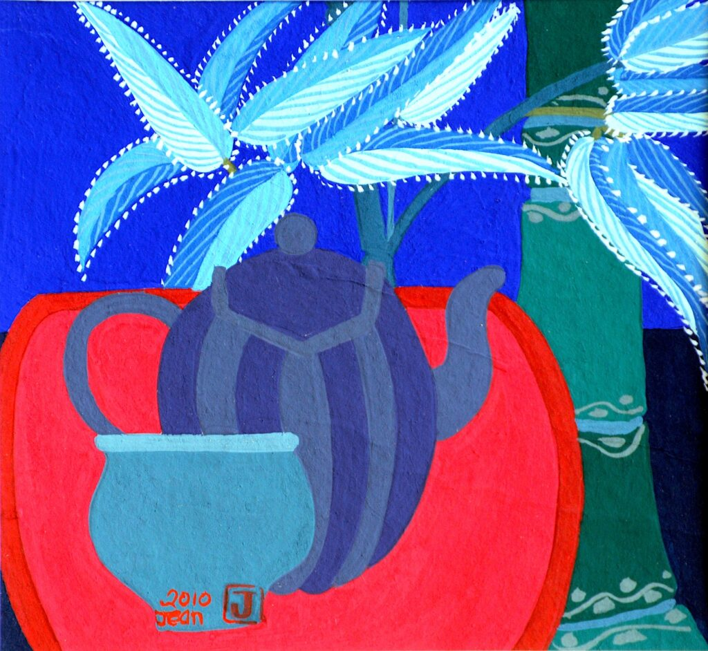Grey and Purple Teapot, Blue Cup and Green Bamboo by Jean Tori 2019