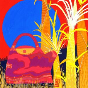 Pink Teapot, Blue Sun and Yellow Bamboo Shoots by Jean Tori