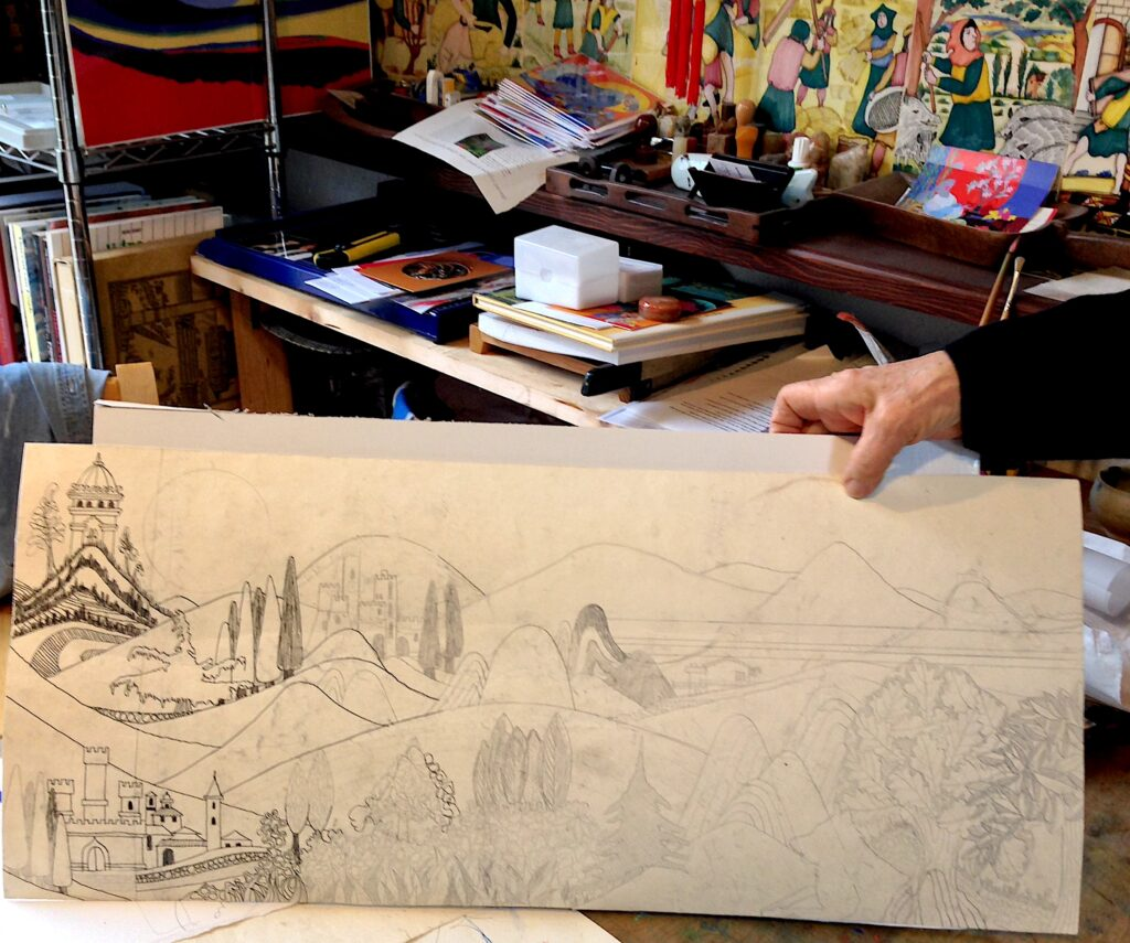 Castle, Mountains and Morning Sun drawing by Jean Tori 2014