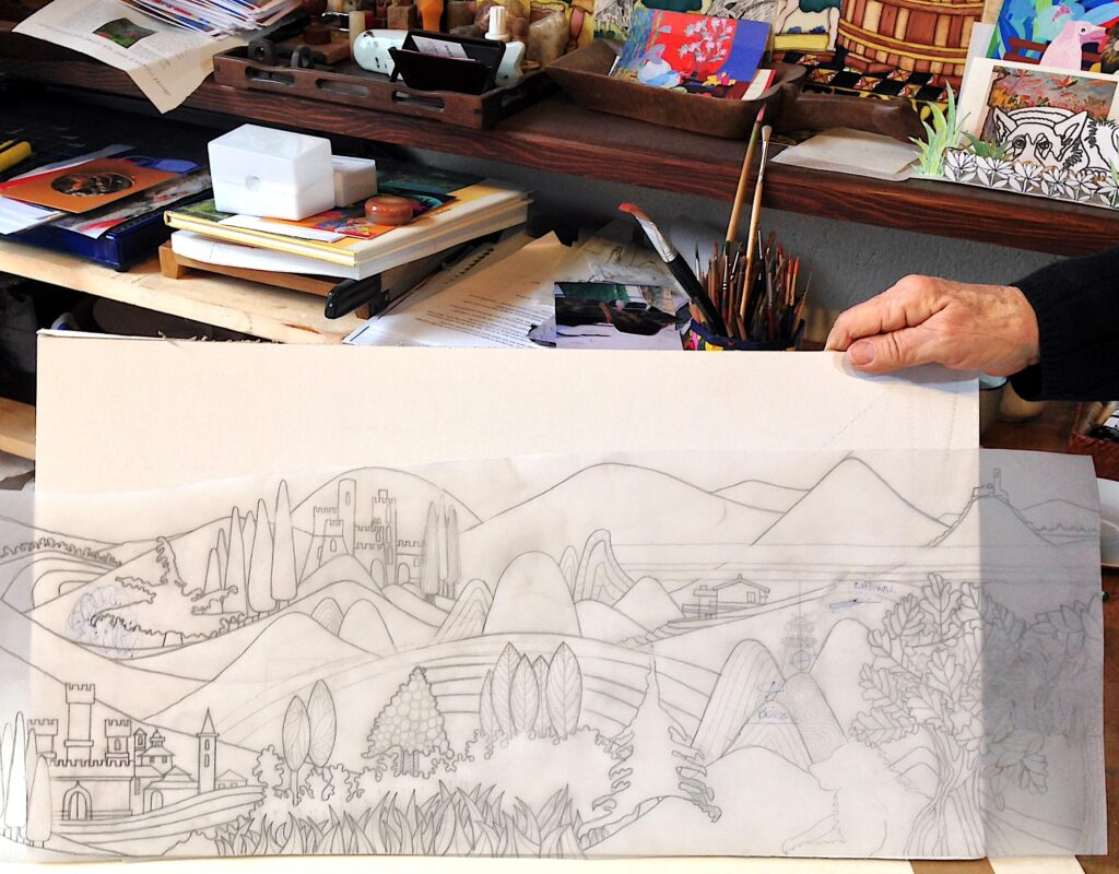 Castle, Mountains and Morning Sun tracing by Jean Tori 2014