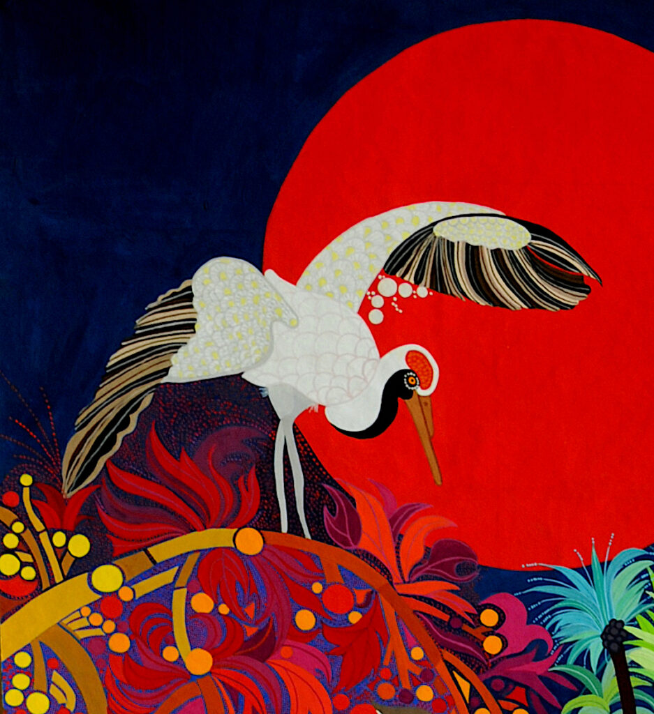 Red crowned crane detail from Volcanos & Islands by Jean Tori 2020