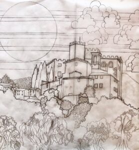 Castle Drawing for Ismay and Roy by Jean Tori 2021