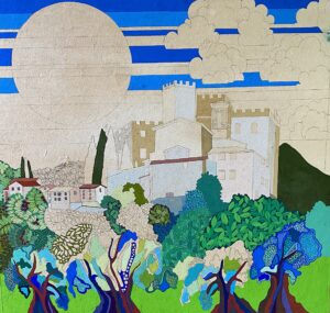 Castle and Olive Trees Jean Tori painting in progress 2021